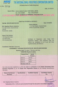 NSIC Rajasthan Electric Industries Registration